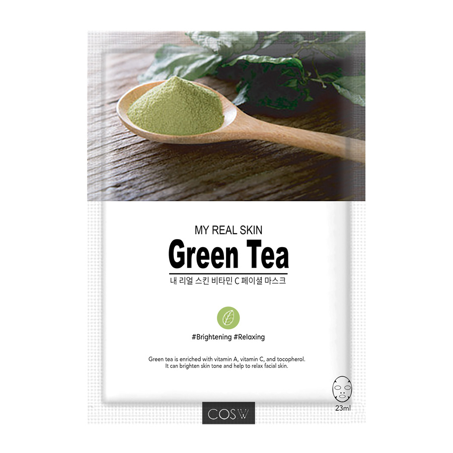 COS.W, Маска тканевая My Real Skin GreenTea Facial Mask (зеленый чай), 23 гр