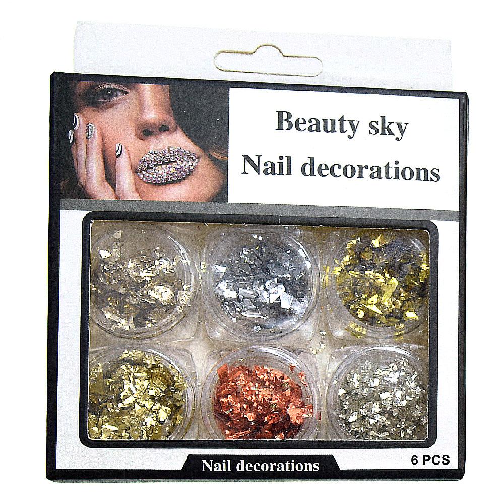 Nail Decorations, слюда для дизайна, набор 6 шт.
