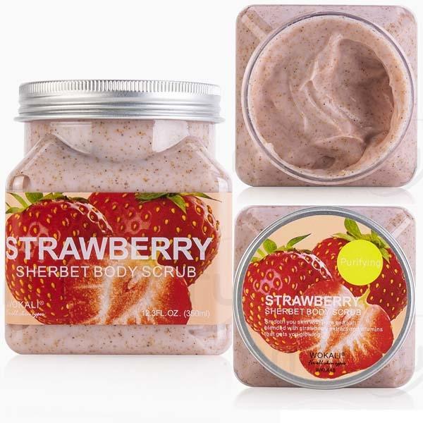 WOKALI, Скраб для тела с Клубникой Sherbet Body Scrub Strawberry, 350 мл