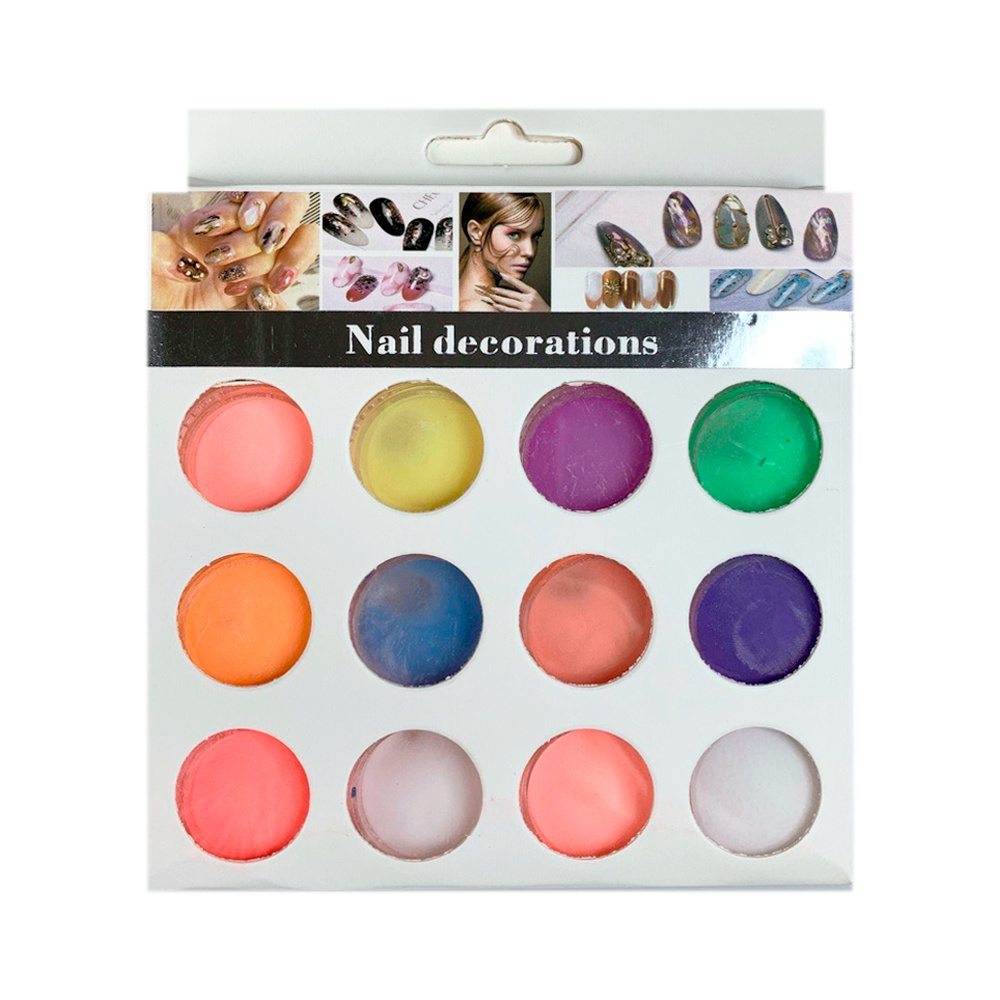 Nail Decorations цветная акриловая пудра набор 12 шт
