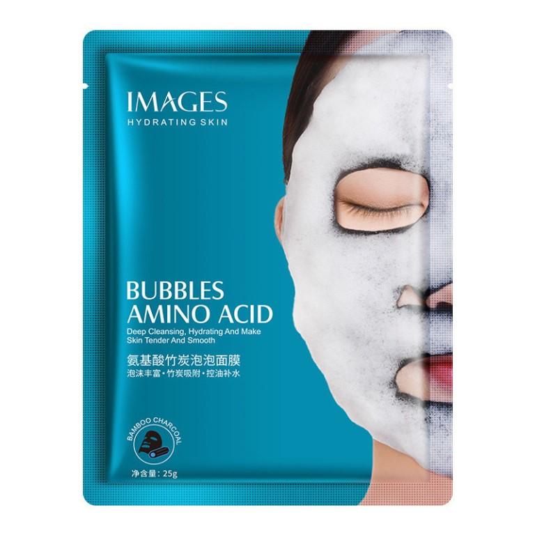Images, Кислородная маска для лица с бамбуковым углём и аминокислотами Bamboo Charcoal Bubble Mask, 25 гр