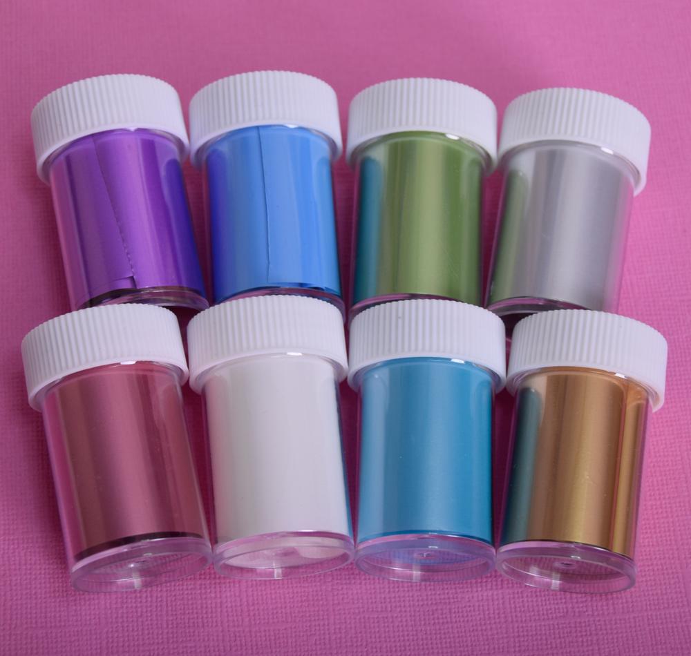 Набор фольги для дизайна ногтей Разноцветная Матовая (8 штук)