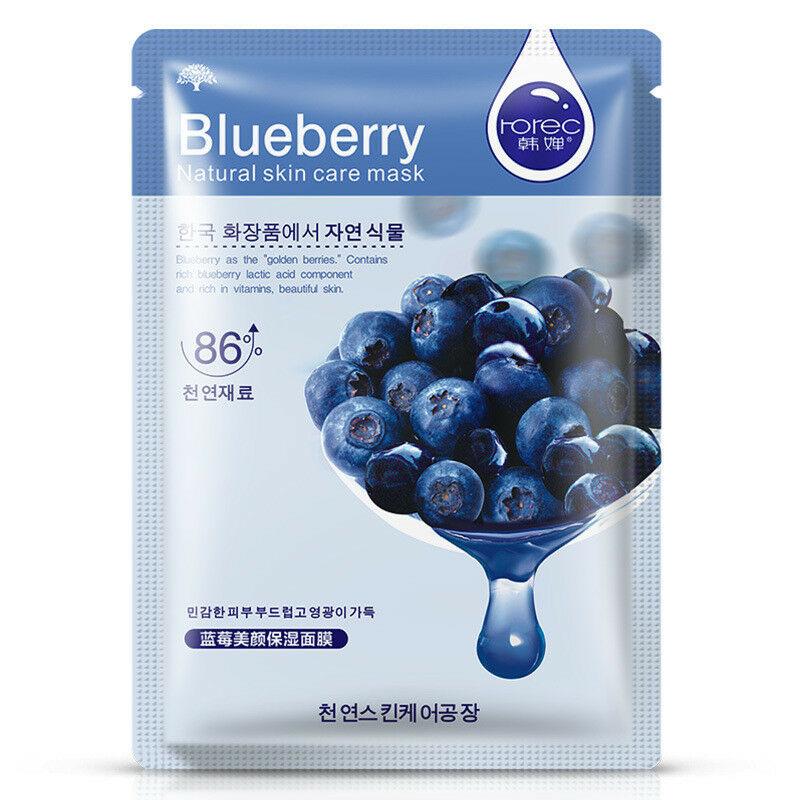 Rorec, Тканевая Увлажняющая Маска для лица с экстрактом голубики Natural Skin Blueberry Mask, 30 г