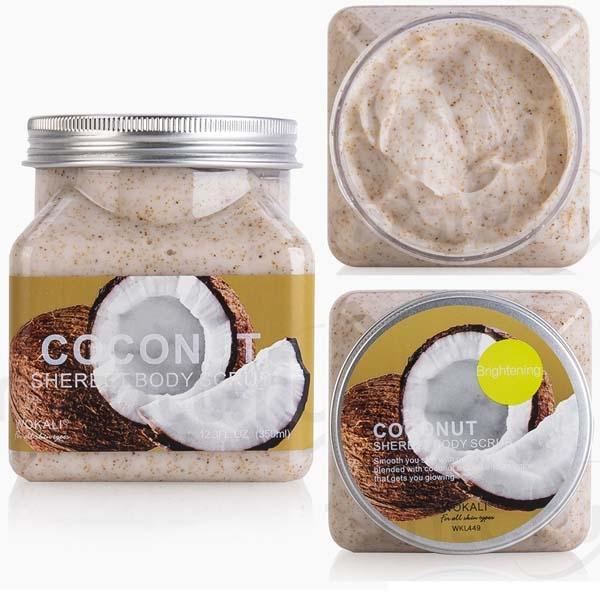 WOKALI, Скраб для тела с Кокосом Sherbet Body Scrub Coconut, 350 мл