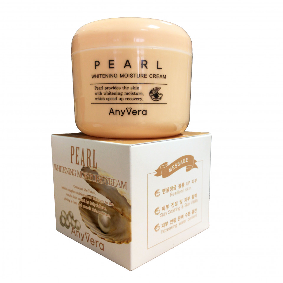 Any Vera, Осветляющий крем с жемчужным порошком Pearl Whitening Moisture Cream, 100 мл