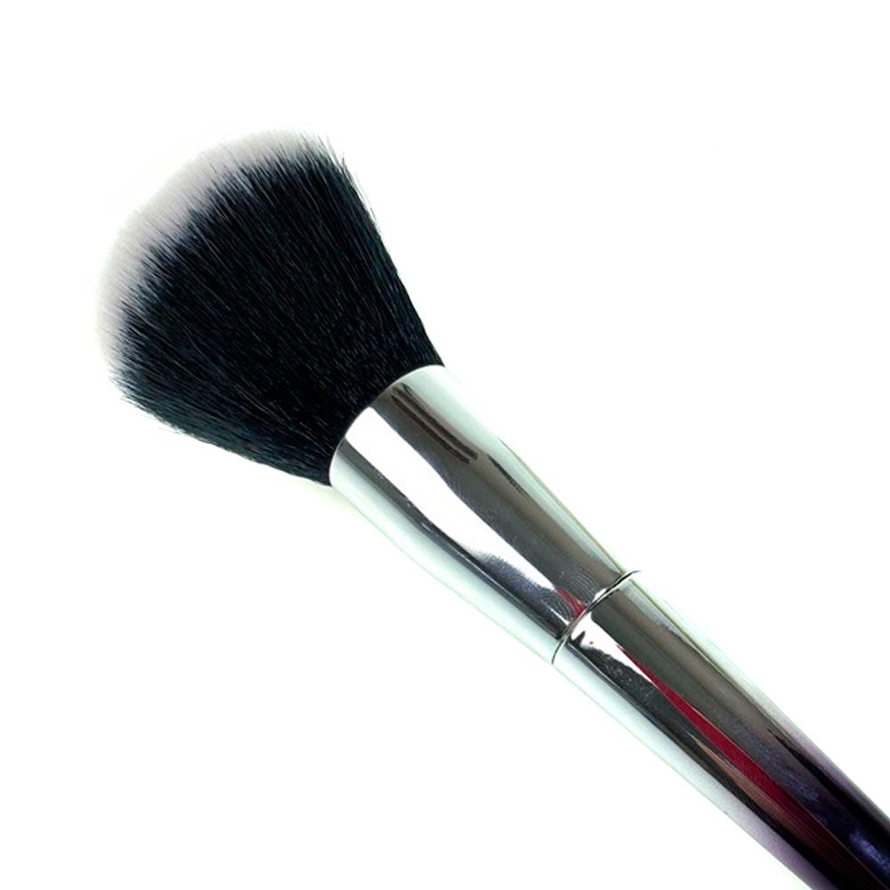 Кисть для пудры с серебряной ручкой (черно-белый ворс), 19 см (3,5*4,0)