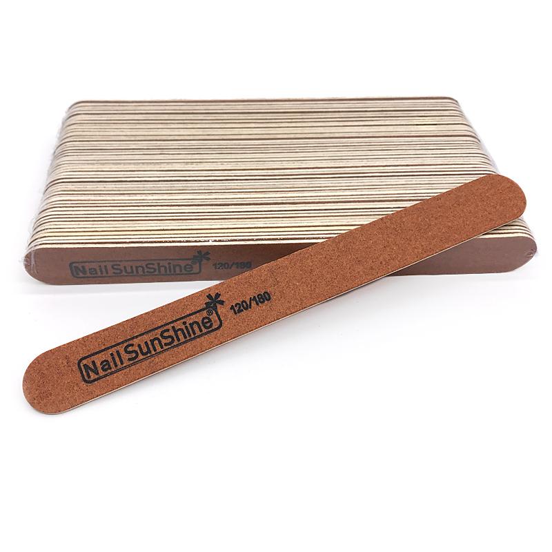 SunShine, Пилка для искусственных и натуральных ногтей тонкая на деревянной основе, коричневая 120/180 грит