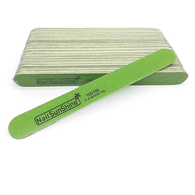 SunShine, Пилка для искусственных и натуральных ногтей тонкая на деревянной основе, зеленая 100/150 грит
