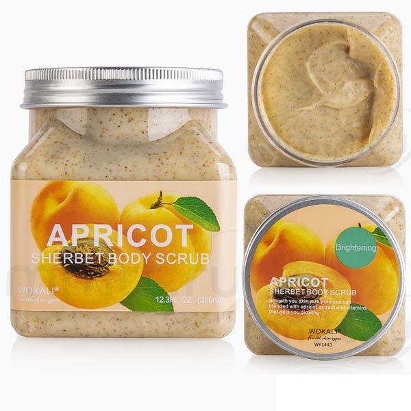 WOKALI, Скраб для тела с Абрикосом Sherbet Body Scrub Apricot, 350 мл